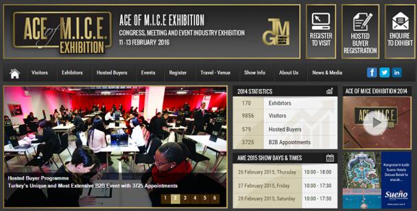 Capture d'écran du site Internet de la 2e édition du ACE of M.I.C.E