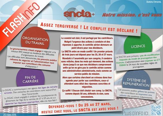 Le SNCTA appelle les contrôleurs aériens français à se mettre en grève du 25 au 27 mars 2015 - DR : SNCTA