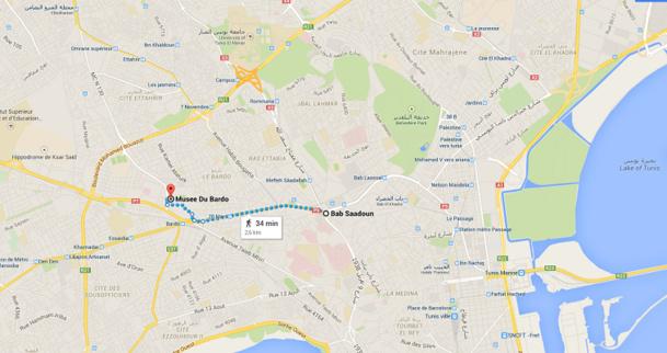 Le défilé partira de la place Bab Saadoun pour rejoindre le musée du Bardo dans le centre de Tunis - DR : Google Maps