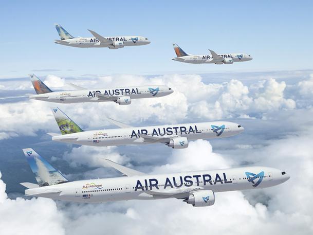 Fin 2016, la flotte long-courrier d'Air Austral sera composée de 3 B777-300ER et de 2 B787-8 - DR : Air Austral
