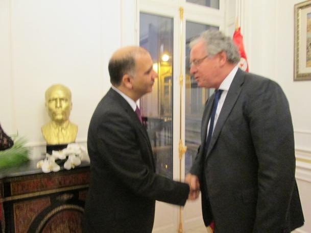 S.E. Mohamed Ali Chihi Ambassadeur de Tunisie en France et René-Marc Chikli président du SETO hier soir à  l'occasion de la fête nationale tunisienne.