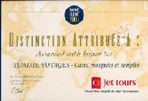 Tunisie Voyages élu ''Trophée Jet tours 2003''