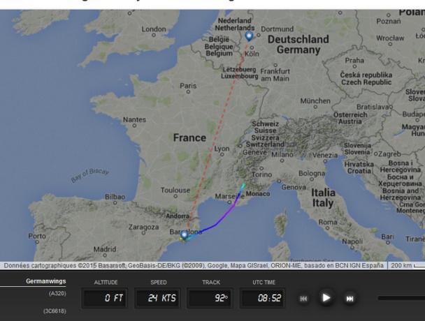 """""""Alors pourquoi, dans une trajectoire parfaitement linéaire cet avion s'est mis à descendre droit vers les parois des montagnes sans que l'équipage n'ait envoyé un seul signal soit par radio, soit en affichant un code de détresse via le transpondeur ?"""" - DR : FlightRadar24.com"""