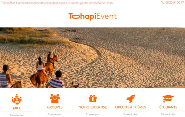 Capture d'écran du site dédié à l'offre MICE de Tohapi
