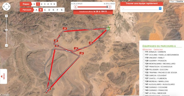 Le tracé de l'équipe d'Armelle et Marie lors de la première étape ! Bravo les filles - Capture écran
