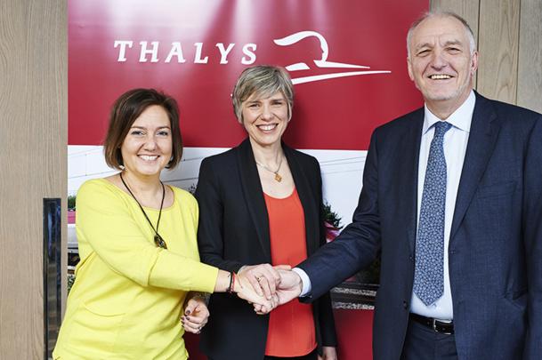 Agnès Ogier, CEO et administrateur de Thalys, Rachel Picard, Directrice Générale de Voyages SNCF et administrateur de Thalys et Jo Cornu, CEO de SNCB et futur président du Conseil d'Administration - DR : Thalys