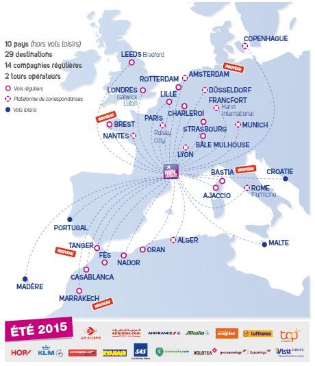 Le réseau de destinations desservies au départ de Montpellier Méditerranée pour l'été 2015 - DR : Montpellier Méditerranée