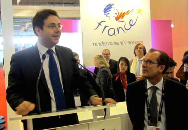 Matthias Fekl, le secrétaire d'état chargé du tourisme a inauguré le salon Rendez-vous en France en compagnie de Christian Mantéi, le directeur d'Atout France. DR-LAC