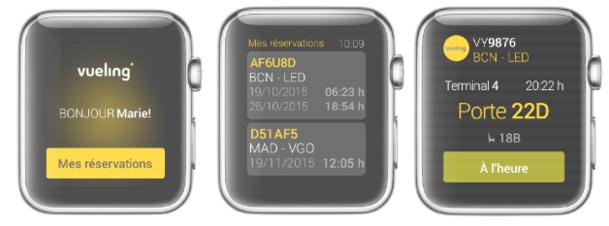 L'application Apple Watch de Vueling sera lancée le 24 avril 2015, avec le lancement européen de la montre connectée - DR : Vueling