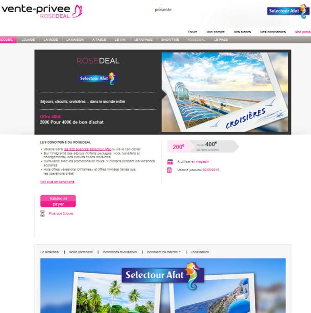 Selectour Afat lance une opération de couponing sur Vente-Privee.com