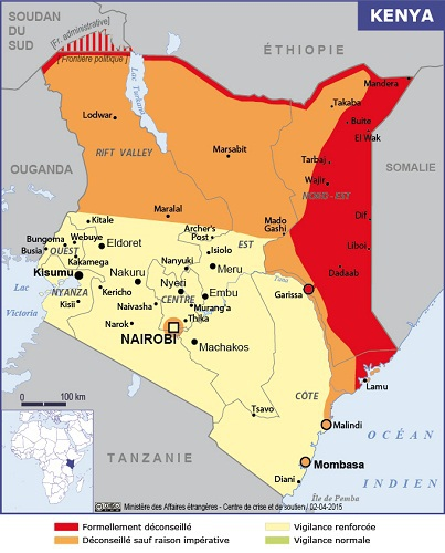 La carte du Quai d'Orsay pour le Kenya - DR : Ministère des Affaires étrangères