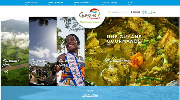 Page d'accueil du nouveau site Internet lancé par le Comité du Tourisme de Guyane - Capture d'écran