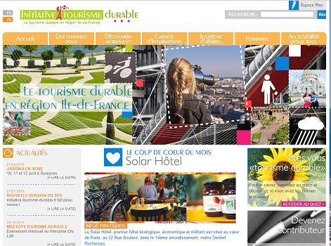 Initiative-tourisme-durable.fr recense les bonnes pratiques en matière de tourisme durable en région Île-de-France - Capture d'écran