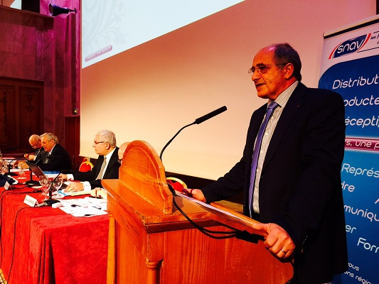 Jean-Pierre Mas, Président du SNAV, à l'occasion de l'Assemblée générale du syndicat, mardi 14 avril 2015  - Photo J.D.L.