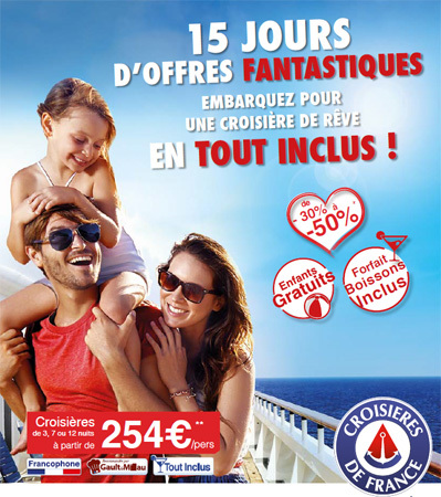 """Croisières de France lance """"la Quinzaine de la Croisière"""""""