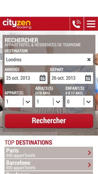 La home du site mobile de cityzenbooking.com