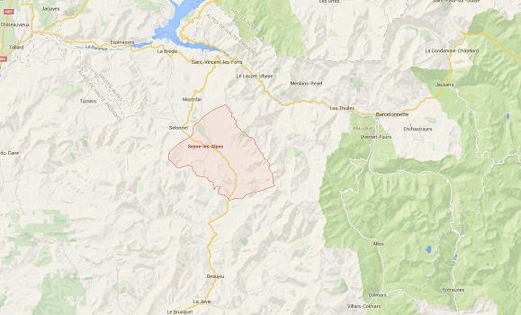 Les débris seront entreposés dans un hangar à Seyne-les-Alpes - DR : Google Maps