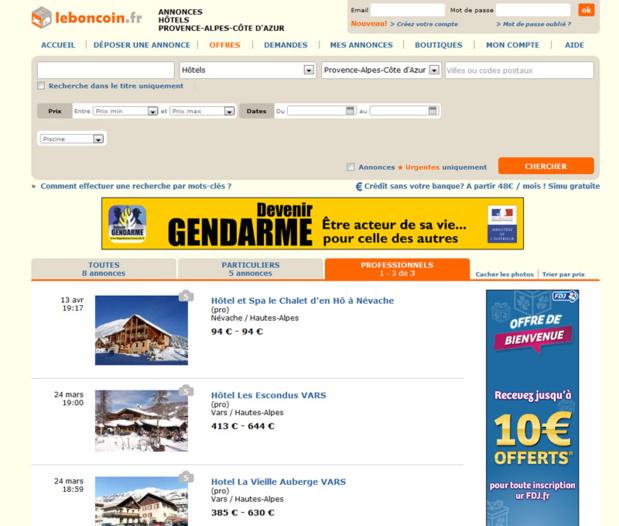 """Le site Leboncoin.fr a lancé une nouvelle catégorie """"Vacances"""" - Capture écran"""