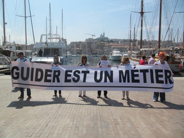 """""""Guider est un métier"""" est le mot d'ordre de la mobilisation des guides-conférenciers depuis fin 2014 - Photo P.C."""