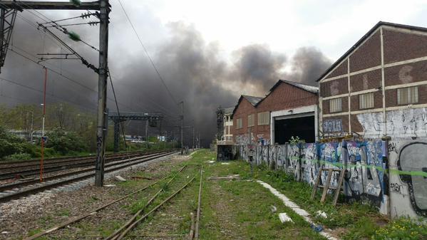 Un incendie s'est déclaré près des voies ferroviaires au niveau de La Courneuve - DR : RATP