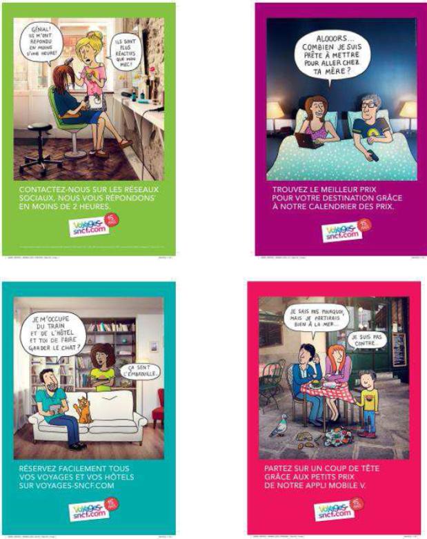 Les 4 visuels de la campagne d'affichage de Voyages-sncf.com - DR : Fanny Cooper