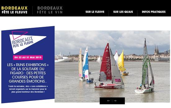 Le nouveau site Internet de Bordeaux Fête le Fleuve permettra de trouver toutes les informations pratiques et d'acheter des prestations et des objets de promotion - Capture d'écran