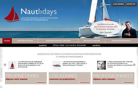 Nautlidays propose des locations de bateaux entre particuliers et auprès de professionnels - Capture d'écran