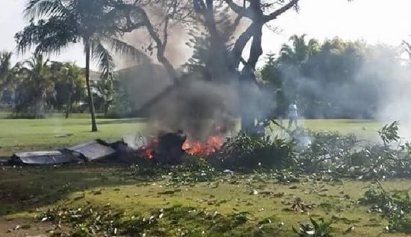 Un Piper PA-32 s'est écrasé sur un terrain de golf à Punta Cana, en République dominicaine, avec 7 personnes à bord - DR : IDAC