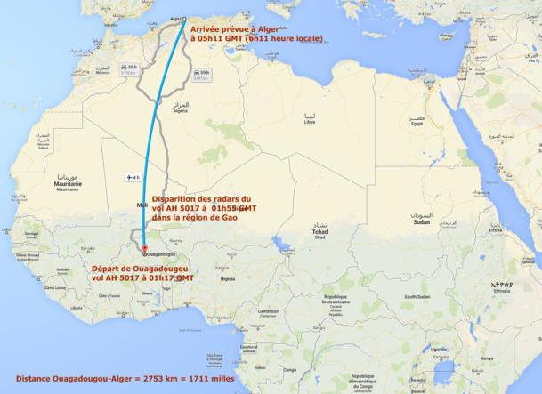 Le 24 juillet 2014, Air Algérie perdait le contact du vol AH 5017 qui effectuait la liaison entre Ouagadougou (Burkina Faso) et Alger, 50 minutes après son décollage - DR