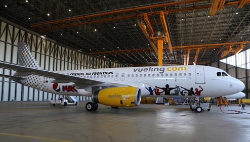 Vueling équipe ses avions de prises électriques dans le cadre d'un partenariat avec Pepsi - Photo : Vueling