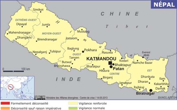 La carte du Népal publié par le MAE - DR