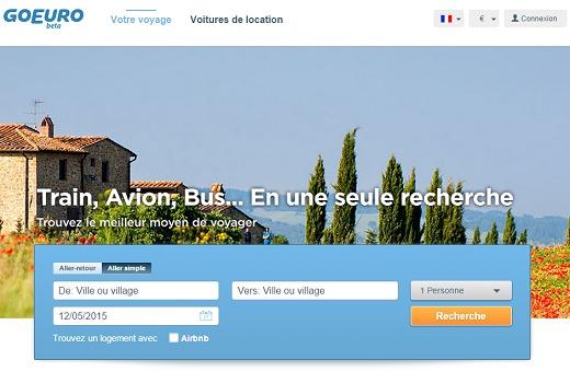 GoEuro.fr est un comparateur qui prend en compte divers moyens de transports - Capture d'écran