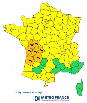 7 départements sont en vigilance orange aux orages - DR : Météo France