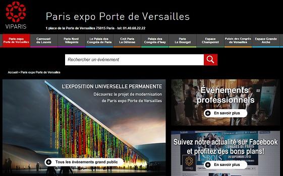 Sur son site Internet, VIParis présente le projet de modernisation du centre de conventions Paris Expo - Capture d'écran