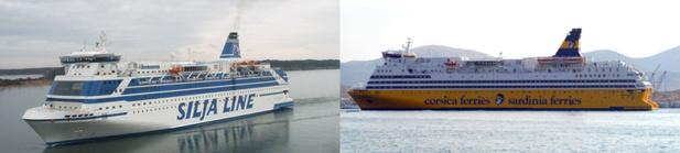 Le Mega Andrea (à gauche) sera le sistership du Mega Smeralda (à droite) - DR : Corsica Ferries