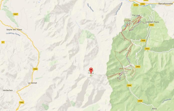 L'A320 de Germanwings s'est écrasé dans le Massif des 3 évêchés dans les Alpes-de-Haute-Provence - DR : Google Maps