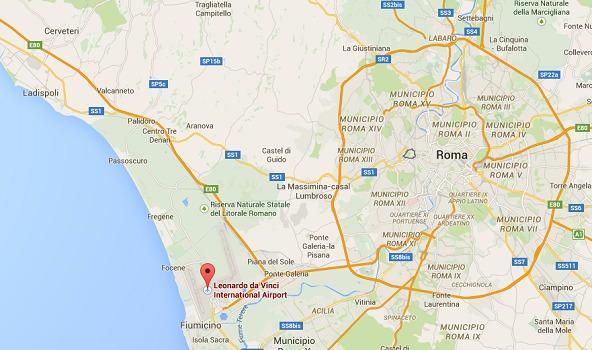 L'incendie s'est déclaré dans le Terminal 3 de l'aéroport de Rome-Fiumicino - DR : Google Maps
