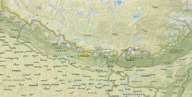L'épicentre du tremblement de terre est localisé à 83 km à l'Est de Katmandou, déjà lourdement touchée par le séisme du 25 avril 2015 - DR : USGS