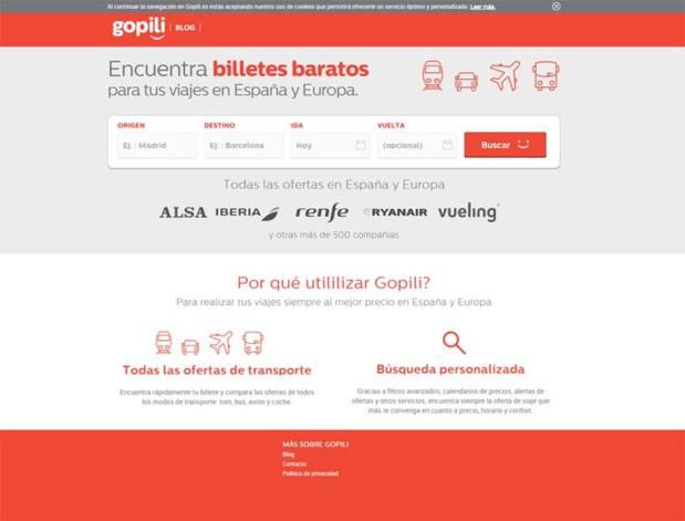 Gopili.es. proposera 60 000 trajets et 500 compagnies référencées - DR : Capture d'écran Gopili