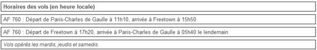 Air France : reprise des vols CDG-Freetown le 30 juin 2015