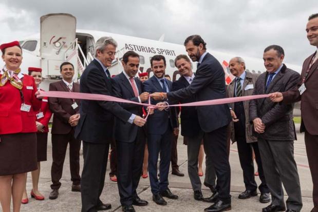 Volotea a inauguré sa première base espagnole aux Asturies en présence de Carlos Muñoz et Lázaro Ros, respectivement PDG et Directeur général de Volotea et San Martin et Carlos Domingo, directeurs de l'aéroport des Asturies ©Volotea