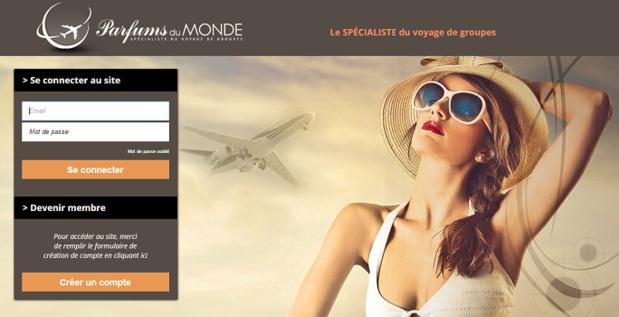 Les identifiants des agences de voyages restent les mêmes sur la nouvelle version du site BtoB de Parfums du Monde - Capture d'écran