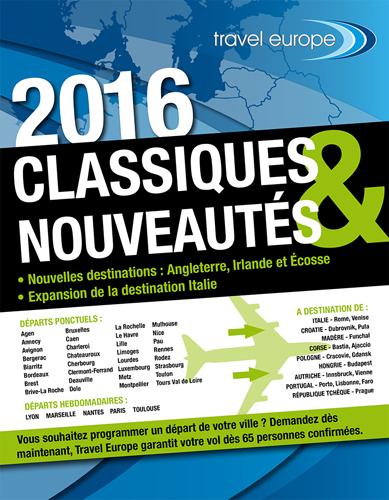 Travel Europe édite une brochure avant-première 2016