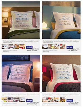 La campagne de Kyriad Hotel se décline en 4 visuels différents - DR : Kyriad Hotel