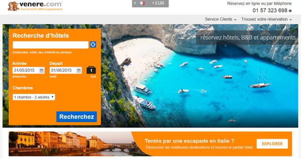 Jusqu'au 19 juin 2015, Venere.com augmente la commission des agents de voyages - Capture d'écran