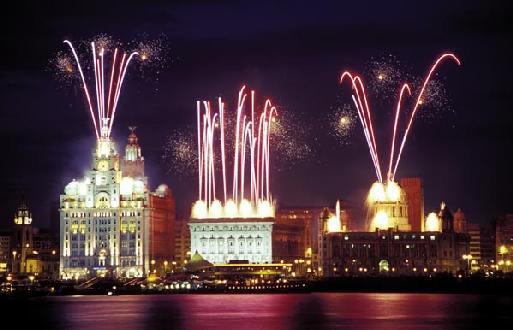 Le centre de Liverpool, face à la rivière Mersey