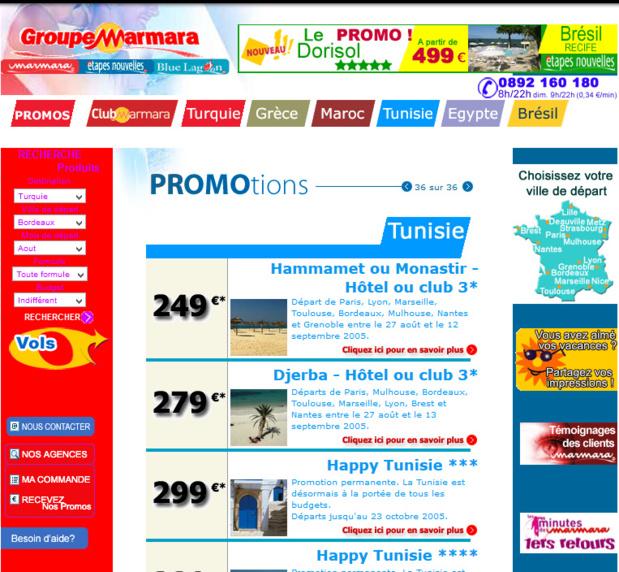 Marmara sera le premier TO à automatiser le process des carnets de voyages, à créer un espace pro, des sites B2B et B2C en privilégiant le contact direct avec le client. Ici, le site en 2005 - DR : Capture d'écran Marmara