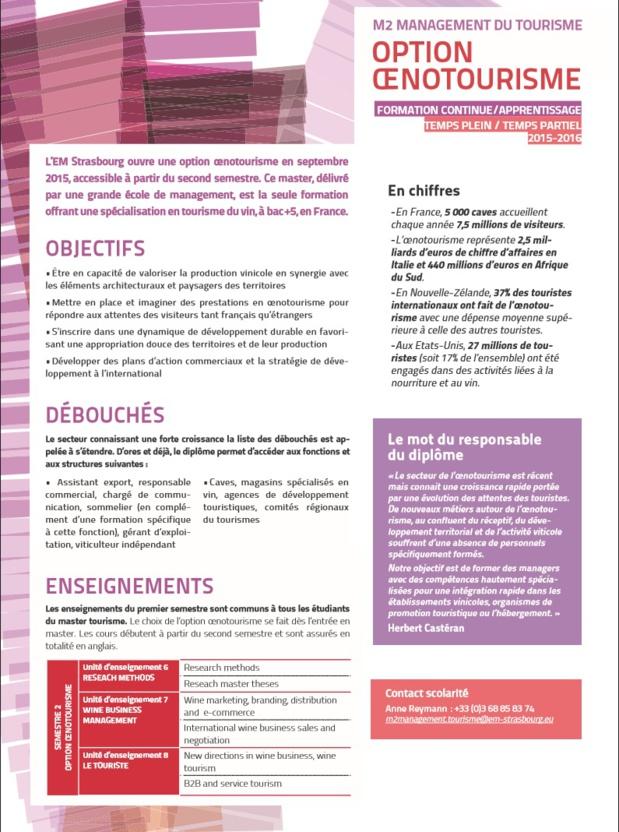 "L'EM Strasbourg Business School lance une option ""Oenotourisme"" en Master 2"