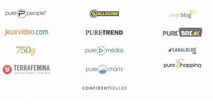 Les marques de Webedia, entreprise spécialisée dans les médias en ligne.   ©capture d'écran webedia