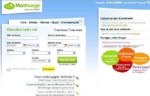 La page d'accueil du site monnuage.fr